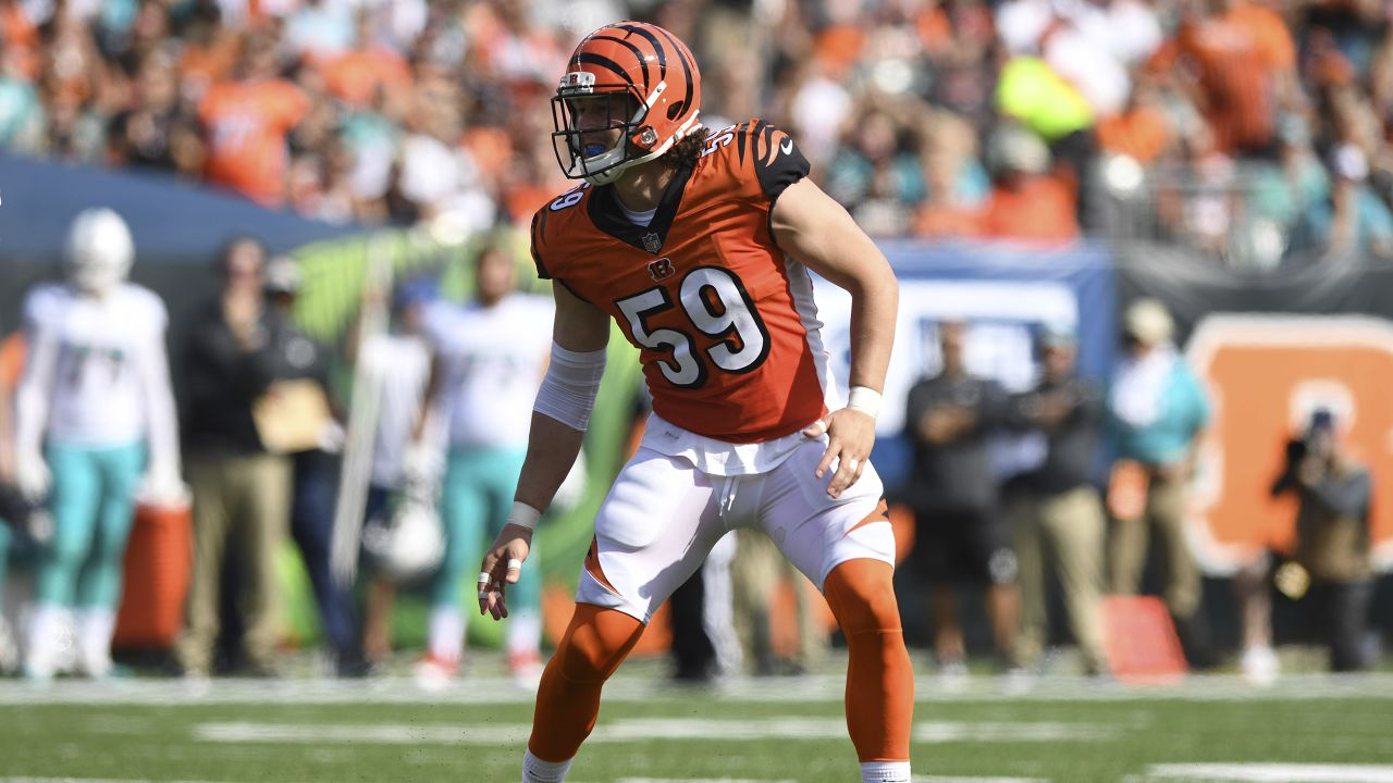 Cincinnati Bengals linebacker Nick Vigil (59) is seen in action during an NFL football game against the Miami Dolphins on Sunday, Oct. 7, 2018 in Cincinnati. (NFL Photos via AP)