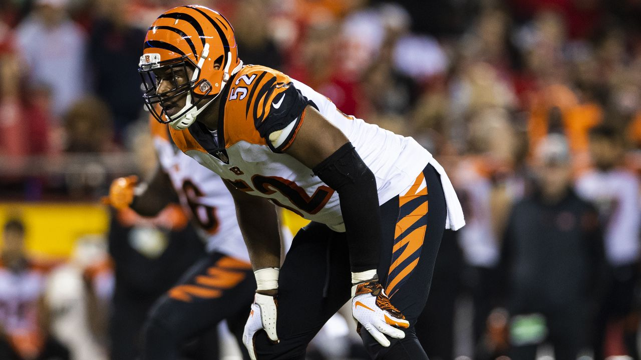 Cincinnati Bengals linebacker Preston Brown (52) during an NFL regular season game against the Kansas City Chiefs on Sunday, Oct. 21, 2018 in Kansas City, Mo. The Chiefs won, 45-10. (Ric Tapia via AP)