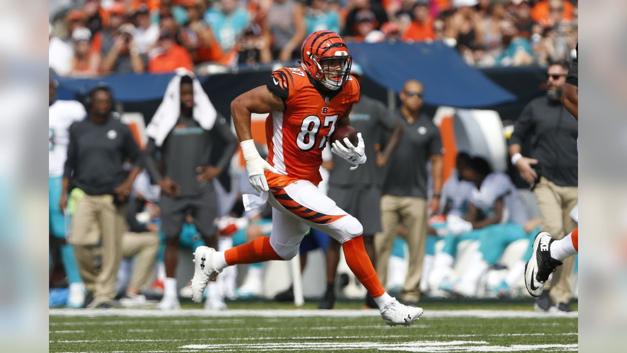 Cincinnati Bengals tight end C.J. Uzomah (87) runs after a catch against the Miami Dolphins during the first half of an NFL football game in Cincinnati, Sunday, Oct. 7, 2018. (AP Photo/Frank Victores)