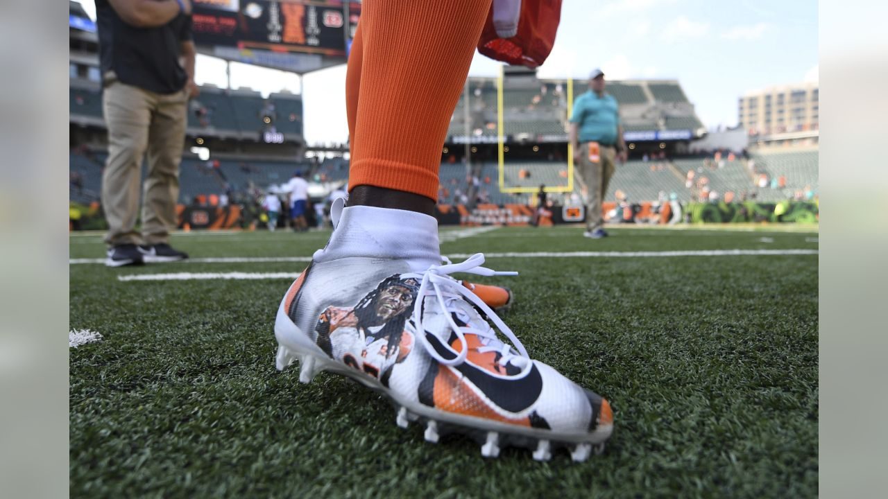 A detail view of cleats worn by Cincinnati Bengals defensive back Dre Kirkpatrick (27) after the game against the Miami Dolphins, Sunday, Oct. 7, 2018 in Cincinnati. (NFL Photos via AP)