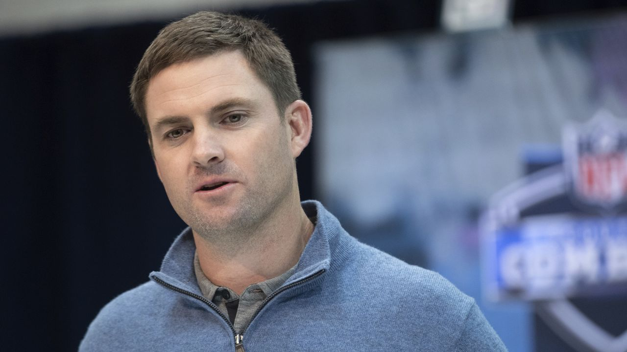 Cincinnati Bengals head coach Zac Taylor speaks during the 2019 Scouting Combine in Indianapolis on Wednesday, Feb. 27, 2019. (Perry Knotts via AP)