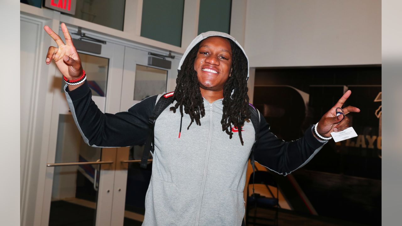 Tremaine Edmunds - Buffalo Bills players arrive at One Bills Drive for voluntary offseason workouts.   April 15, 2019.   Photo by Bill Wippert