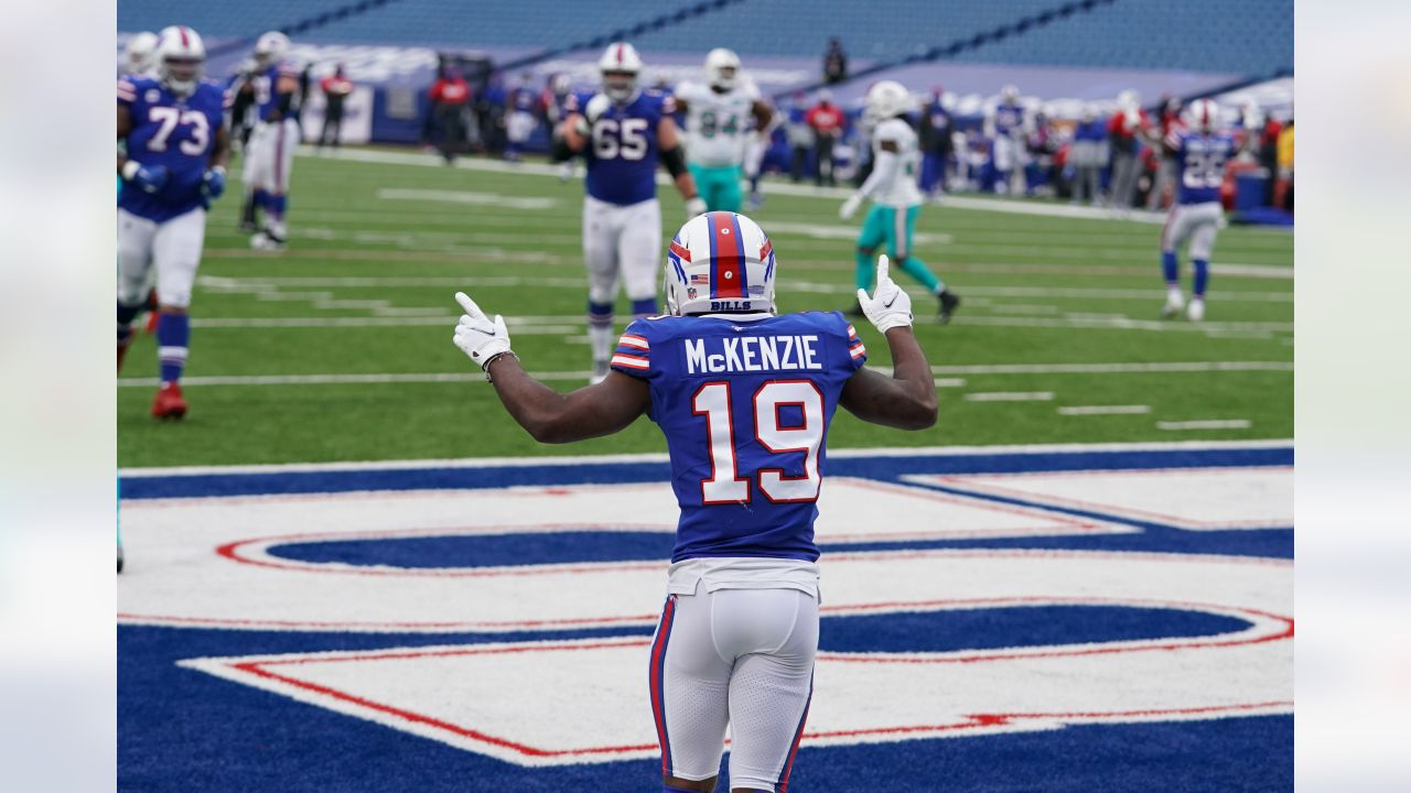 Isaiah McKenzie (19) scores his second touchdown of the day. Buffalo Bills vs Miami Dolphins at Bills Stadium on January 3, 2021.