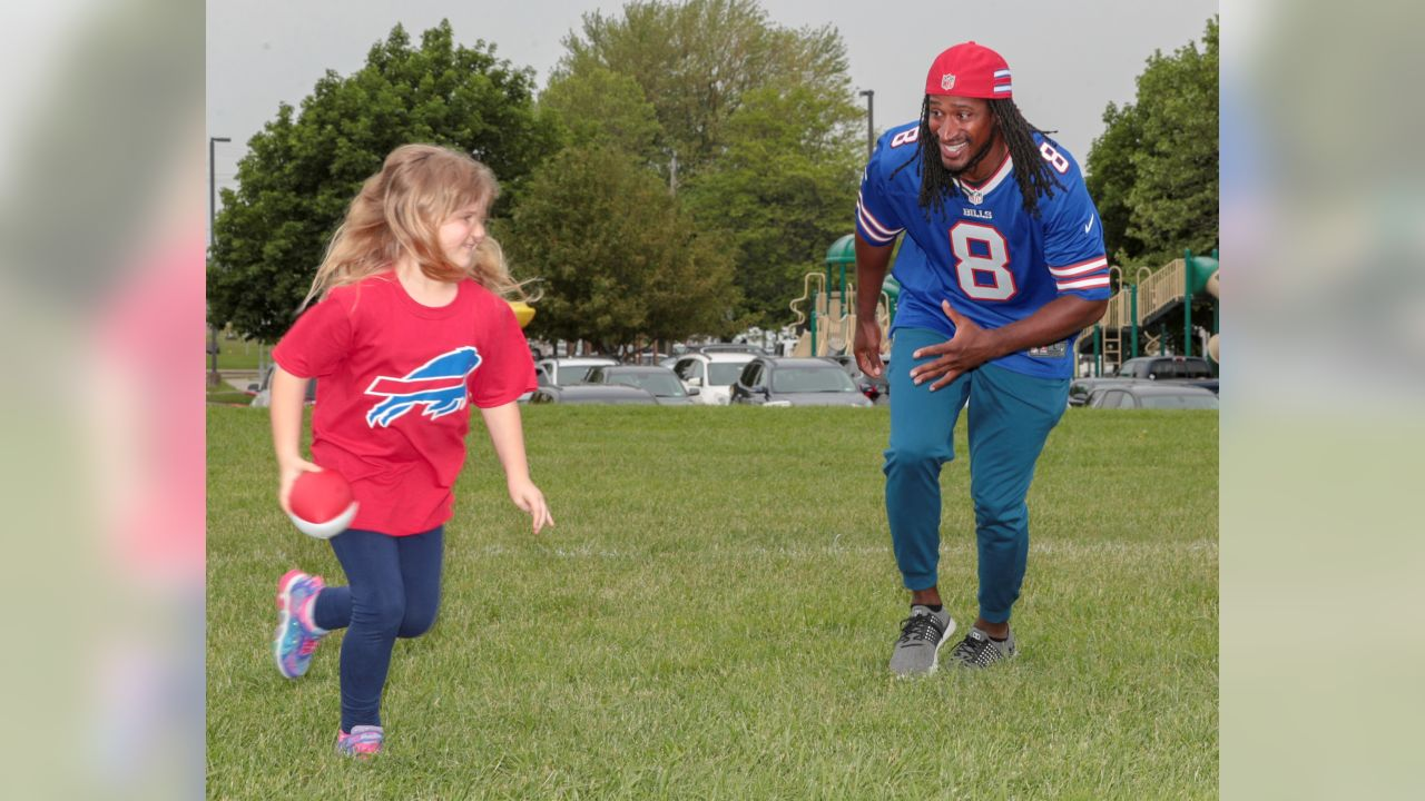 Buffalo Bills take part in the Play 60 Field Day at Hillview Elementary in School in Lancaster on June 5, 2019. Photo by Nicholas T. LoVerde