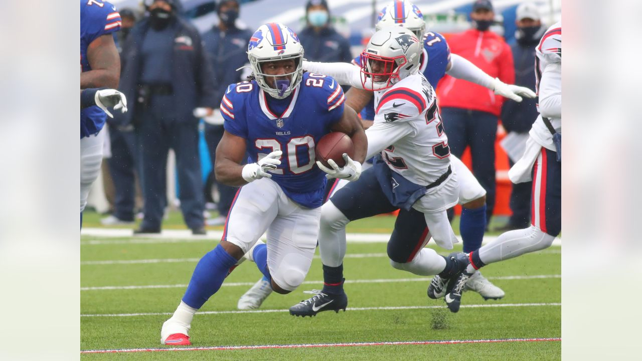 Zack Moss (20) Buffalo Bills vs New England Patriots, November 1, 2020 at Bills Stadium.