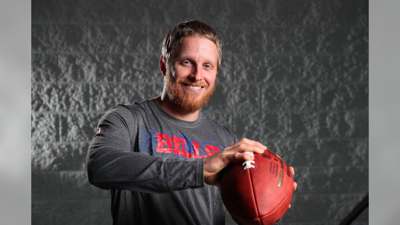 Wide receiver Cole Beasley poses in Bills gear during his first visit to One Bills Drive
