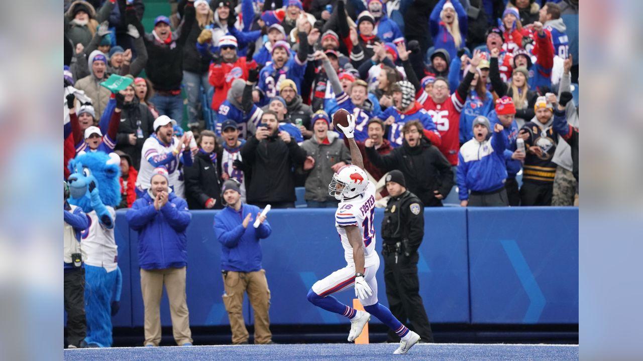 Buffalo Bills wide receiver Robert Foster (16) runs the ball in for a touchdown. Buffalo Bills vs Jacksonville Jaguars at New Era Field, November  25, 2018.  Photo by Craig Melvin