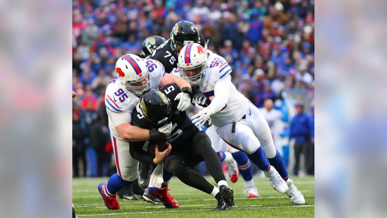 Buffalo Bills defensive tackle Kyle Williams (95)Buffalo Bills defensive end Jerry Hughes (55)  - Buffalo Bills vs Jacksonville Jaguars at New Era Field. Photo by Kevin Hoffman November 25, 2018