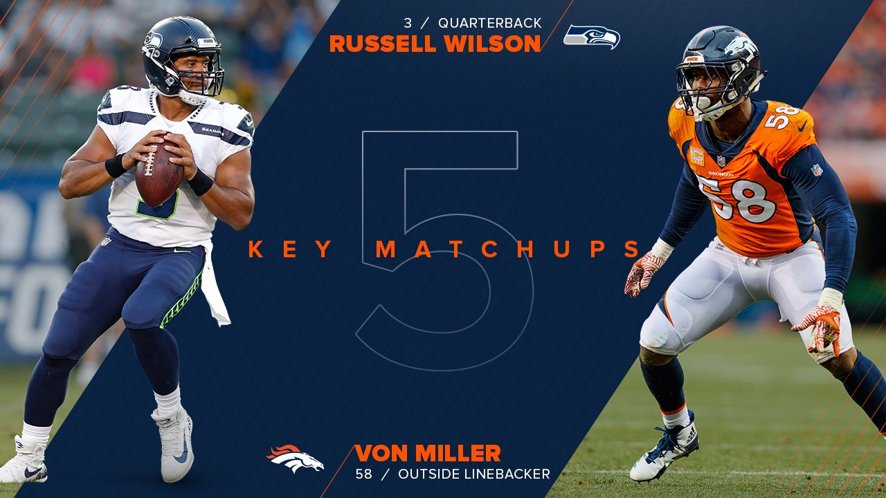 Miller is one of the best edge rushers in league history. Wilson is one of the best scramblers in league history. That makes for an exciting cat-and-mouse game between two of the finest at their craft. Miller notched one sack on Wilson in their only previous regular-season meeting, a 2014 Seahawks victory. With Bradley Chubb, Shane Ray and Shaquil Barrett all viable pass-rush options opposite Miller, Wilson will have to have his head on a swivel. Pressuring Wilson is one thing, but bringing him down is another: His 586 rushing yards were second-most among quarterbacks last season. He played a role in 37 (34 passing, three rushing) of the Seahawks' 38 offensive touchdowns last year. Miller's 83.5 career sacks are second-most in team history, and he'll be looking to inch closer to Simon Fletcher's franchise record of 97.5.