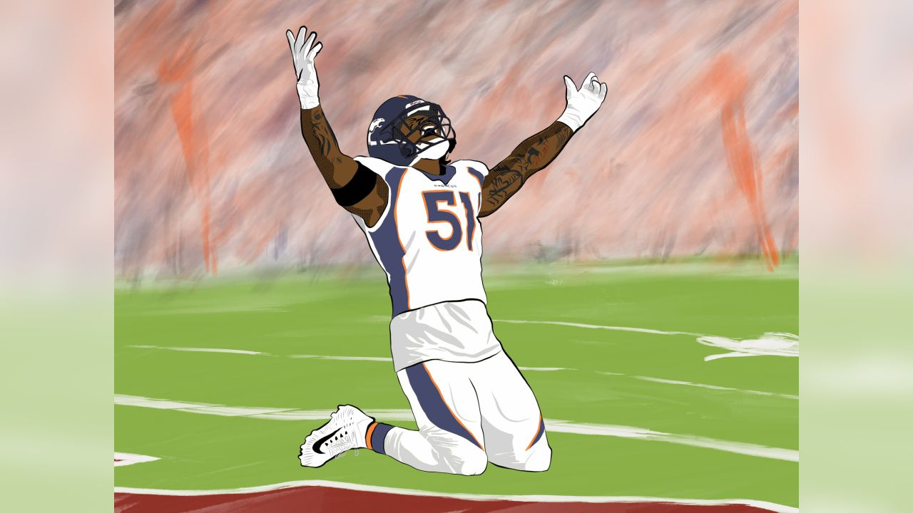 An artistic reimagining of Todd Davis' celebration in the end zone after he returned an interception for a touchdown from during the Broncos' win over the Cardinals.
