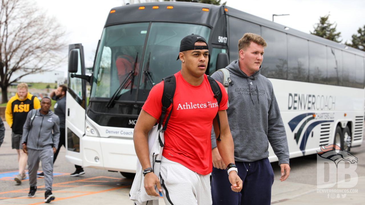 Noah Fant and other members of the 2019 rookie class arrive at UCHealth Training Center for an equipment fitting and other orientation programs on May 9, 2019.