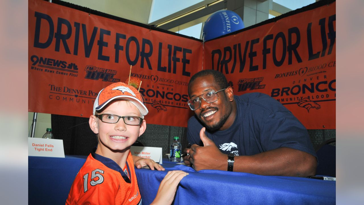 Von Miller at the 2011 Drive For Life blood drive hosted by the Broncos and Bonfils Blood Center.
