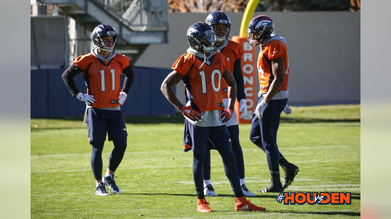 Emmanuel Sanders, River Cracraft, Tim Patrick and Courtland Sutton during practice at UCHealth Training Center on November 2, 2018.