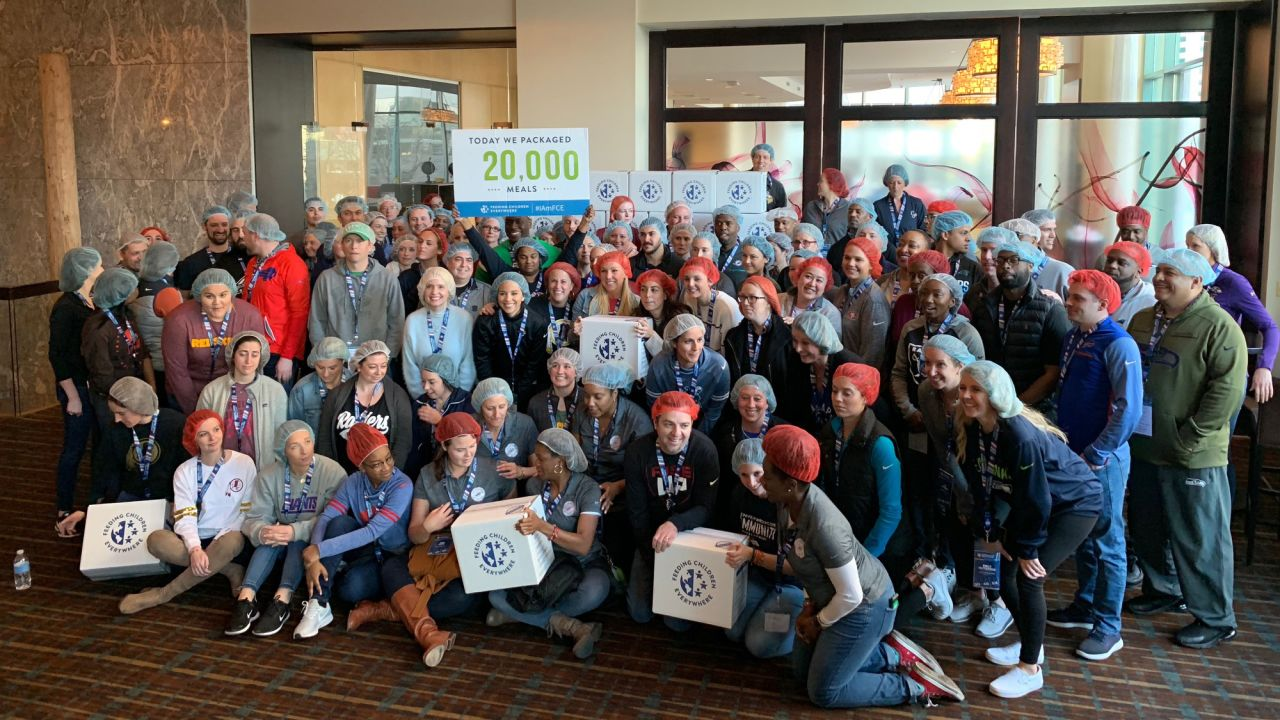 Representatives from all 32 NFL teams and the NFL league office joined together to pack 20,000 meals with Feeding Children Everywhere. All meals will be distributed in Colorado communities served by Food Bank of the Rockies. The community service event kicked off the 2019 NFL Community Relations Meetings, hosted in Denver by the NFL in partnership with the Broncos.