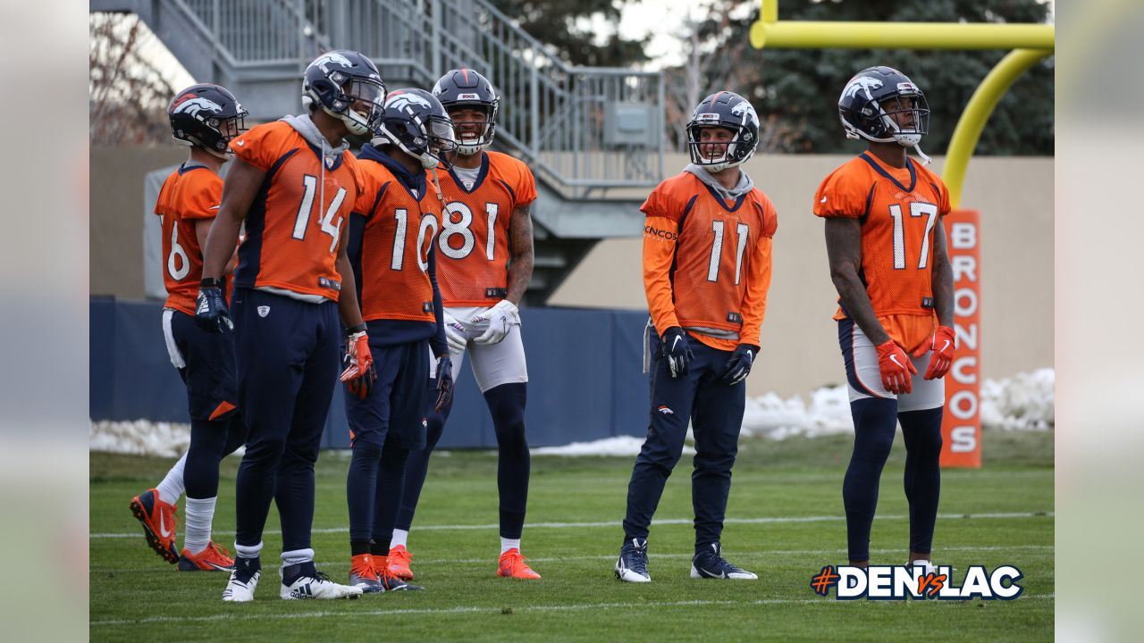 The wide receivers Ñ Chad Henson, Courtland Sutton, Emmanuel Sanders, Tim Patrick, River Cracraft and DaeSean Hamilton Ñ during practice at UCHealth Training Center on November 16, 2018.