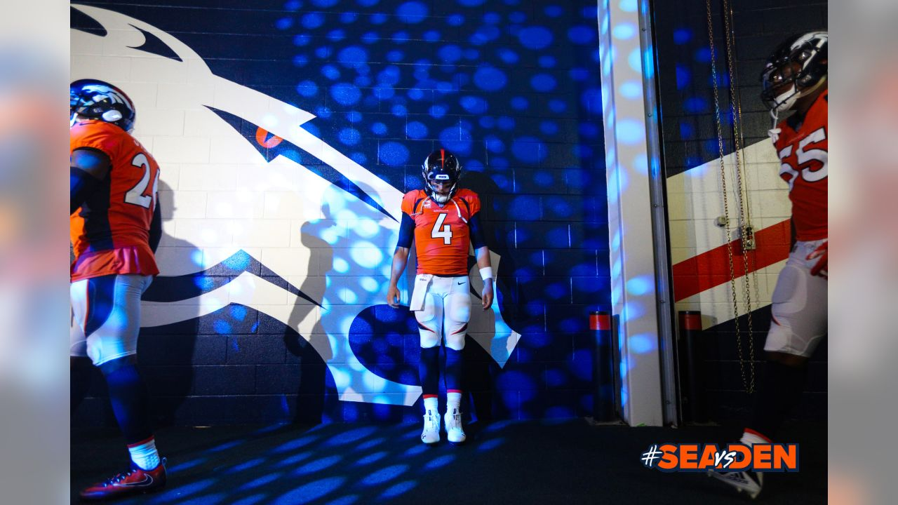 Case Keenum gathers his thoughts in the tunnel during player introductions before his Broncos debut in their season opener against the Seattle Seahawks at Broncos Stadium at Mile High on Sept. 9