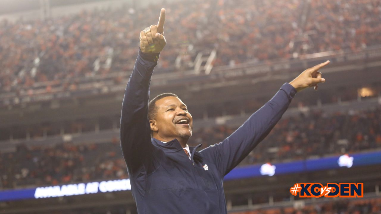 Ring of fame former safety Steve Atwater during the Ring of Fame recognition show at halftime during the game against the Kansas City Chiefs at Broncos Stadium at Mile High on October 1, 2018.
