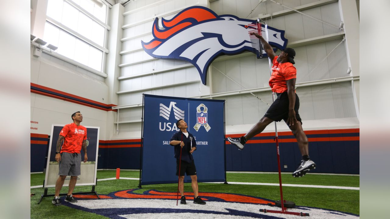 At USAA's Salute to Service NFL Boot Camp in the Pat Bowlen Fieldhouse at UCHealth Training Center on August 21, 2018. Fifty-five active duty military members took part in the physical challenges and then proceeded to watch practice and meet players afterward.