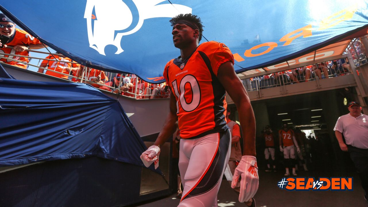 Emmanuel Sanders in the tunnel during player introductions before the Broncos' Week 1 game against the Seattle Seahawks at Broncos Stadium at Mile High on September 9, 2018.