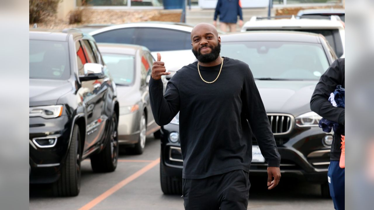 Safety Darian Stewart arrives back at UCHealth Training Center for the start of the Broncos' offseason workout program.