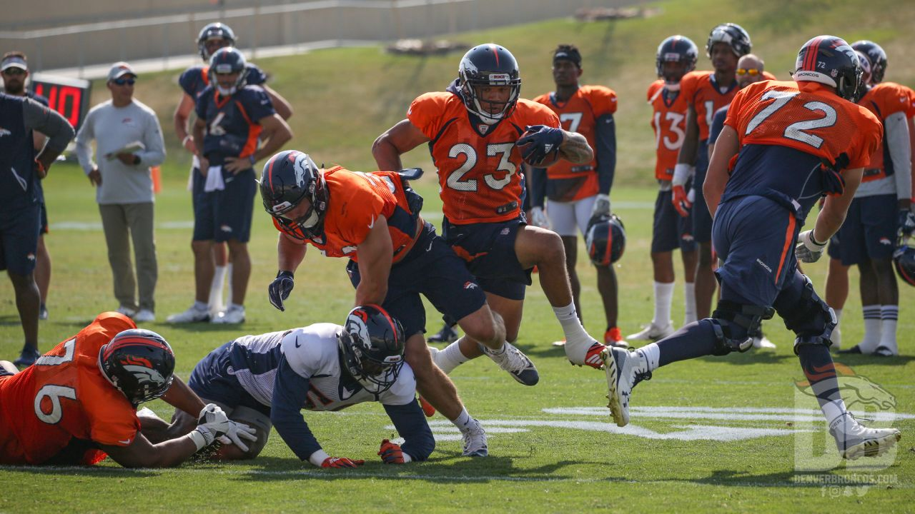 Running back Devontae Booker (23) during a practice at UCHealth Training Center on Aug. 13, 2018.