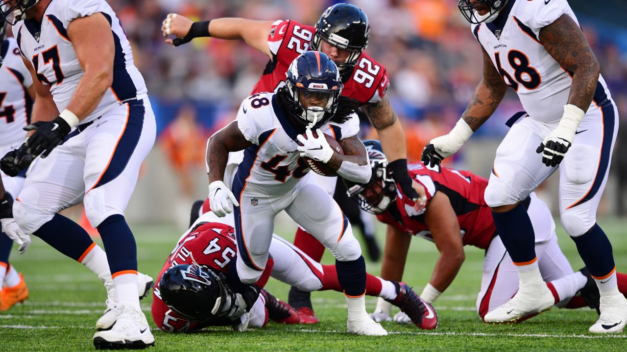 Devontae Jackson during the first half of the Broncos' preseason matchup with the Falcons in the Pro Football Hall of Fame Game on August 1, 2019 at Tom Benson Hall of Fame Stadium.