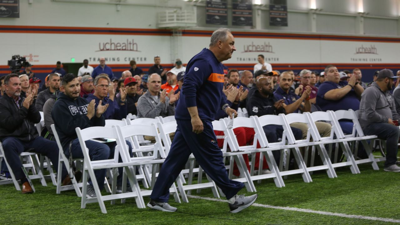 Head Coach Vic Fangio at the ninth annual High School Football Coaches Clinic hosted by the Broncos for 190 coaches from 54 different schools on May 8, 2019.