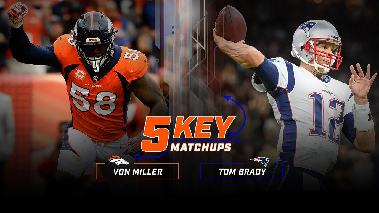 In a game between these two teams, it's impossible to find a matchup better than this. Both Tom Brady and Von Miller likely remember the 2016 AFC Championship in which Miller finished with 2.5 sacks and an interception en route to a victory — and both players may be even better now.This time around, Tom Brady heads into Sunday's game as an MVP favorite once again. He's thrown for 2,541 yards, 16 touchdowns and just two interceptions as the Patriots sit atop the AFC East at 6-2. And coming off a bye week, the 40-year-old is guaranteed to be fresh and ready to continue on a path toward the postseason. But Miller and Co. will try to ensure his performance resembles last year's. Brady was ineffective at times against the Broncos in 2016, and while Miller didn't record a sack on Brady, Denver's defense applied constant pressure. With Shane Ray back in the lineup, the Patriots may not be able to give Miller the attention he deserves. And that could set up the Super Bowl 50 MVP for a big evening.