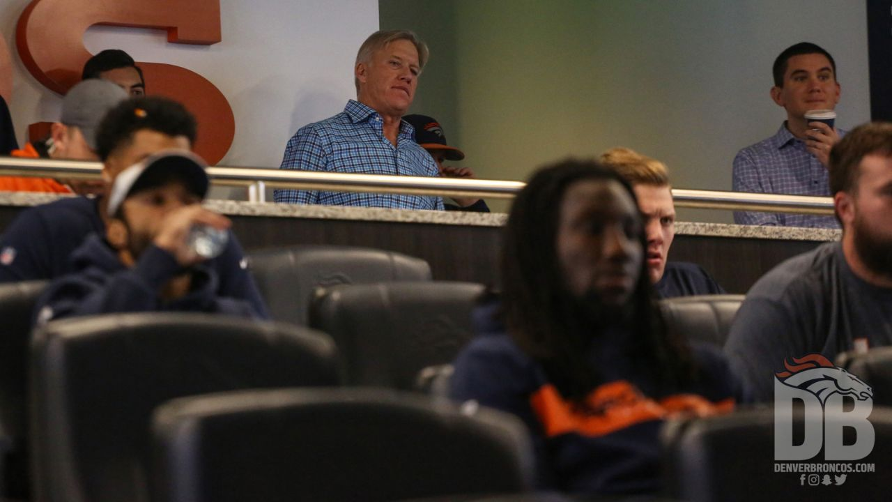 during the Broncos' 2018 community awards announcement ceremony during a team meeting on December 6, 2018.
