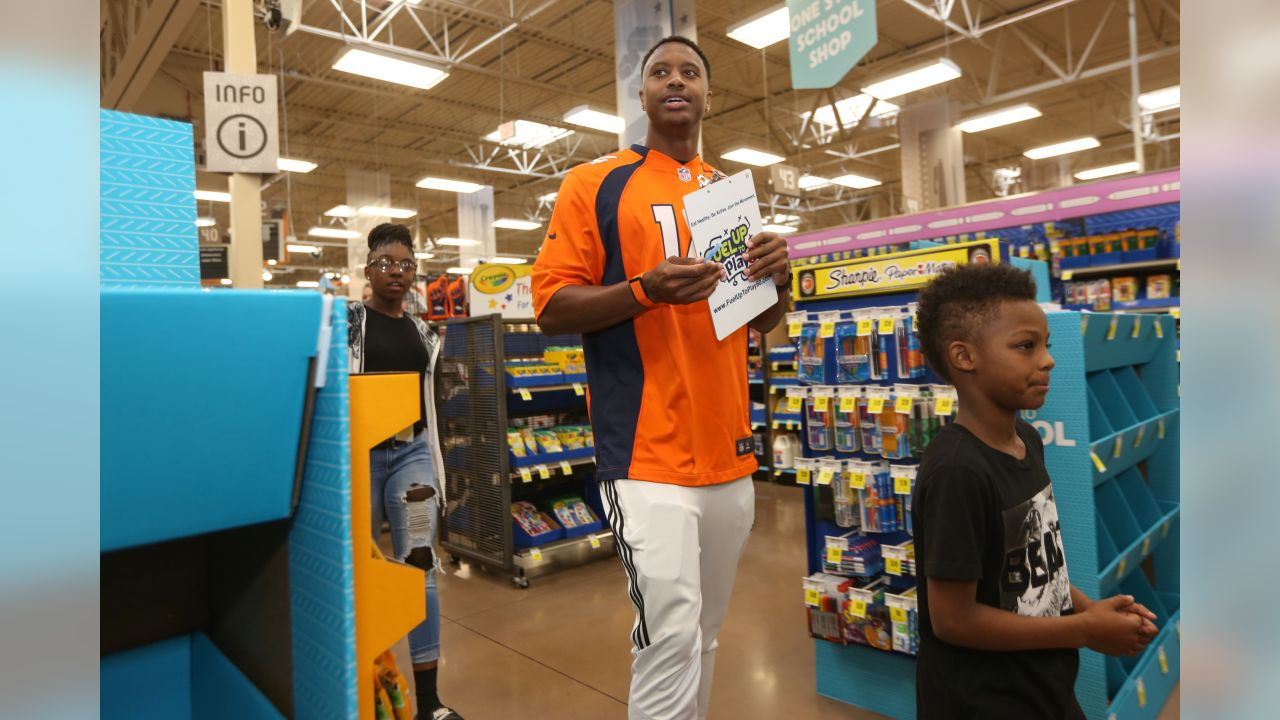 Wide receiver Courtland Sutton (14) at the 2018 Back to School with the Broncos shopping spree on July 23, 2018. Each student received $100 for school supplies.