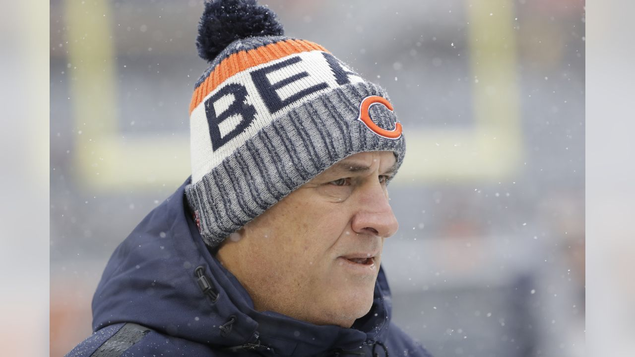 Chicago Bears defensive coordinator Vic Fangio watches before an NFL football game against the Cleveland Browns in Chicago, Sunday, Dec. 24, 2017. (AP Photo/Nam Y. Huh)