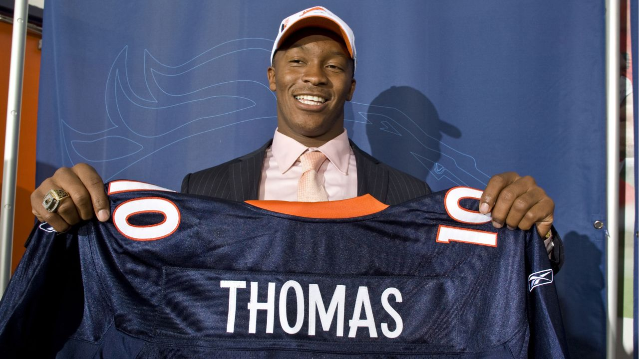 First-round draft pick Demaryius Thomas displays his jersey to the media during his introductory press conference on April 23, 2010.
