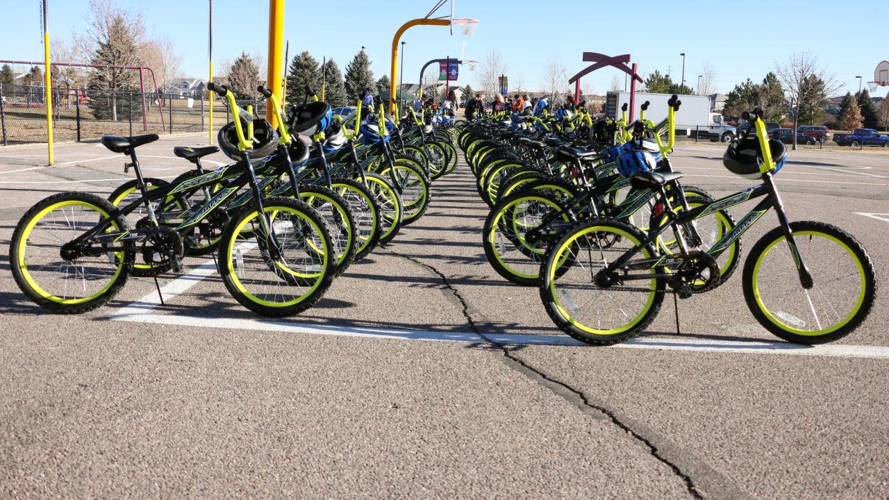 Bikes on display during a bike distribution at Green Valley Elementary School in Denver on December 18, 2018.