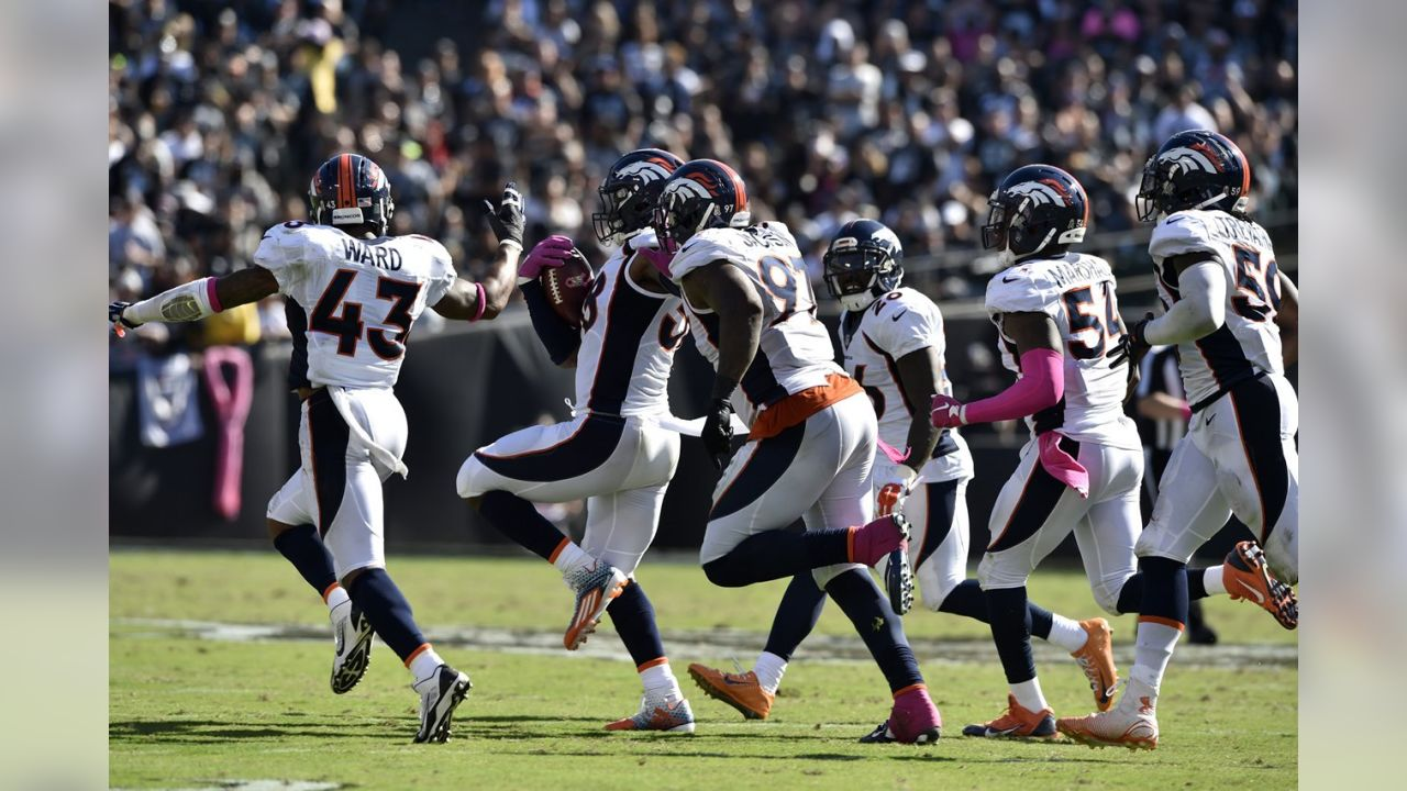 Turnovers were the name of the game for the Broncos in Oakland, and Denver wrangled two of three fumbles from the Raiders, along with one interception. With the win, the Broncos won their fifth game to start the season.
