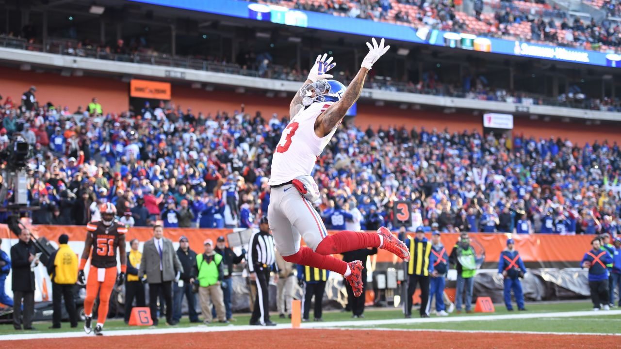 New York Giants wide receiver Odell Beckham (13) celebrates a touchdown catch during a week 12 NFL football game against the Cleveland Browns on November 27, 2016 in Cleveland. (Evan Pinkus via AP)