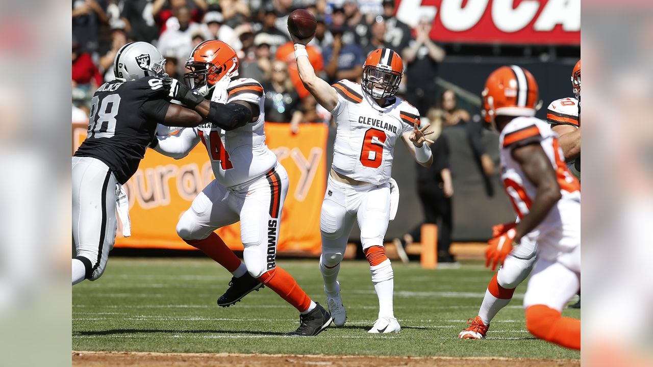 Cleveland Browns quarterback Baker Mayfield (6) passes against the Oakland Raiders during the first half of an NFL football game in Oakland, Calif., Sunday, Sept. 30, 2018. (AP Photo/D. Ross Cameron)