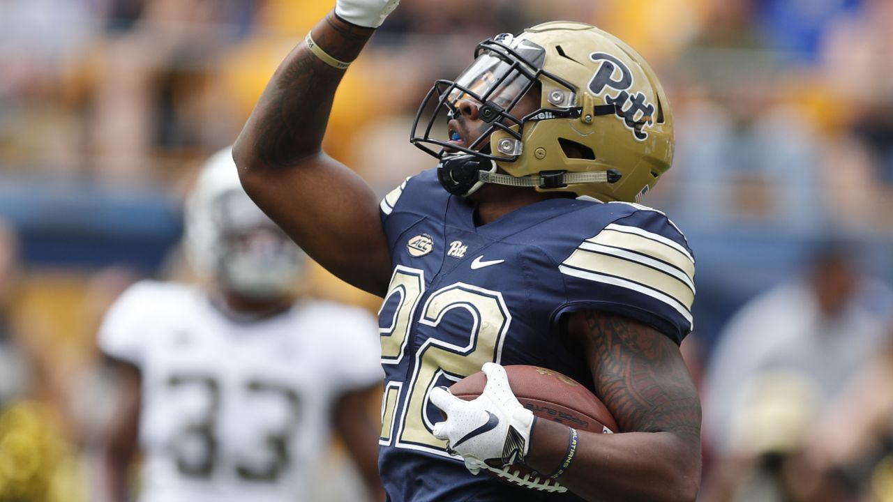 Pittsburgh running back Darrin Hall (22) celebrates scoring a touchdown against Georgia Tech in an NCAA football game, Saturday, Sept. 15, 2018, in Pittsburgh. (AP Photo/Keith Srakocic)