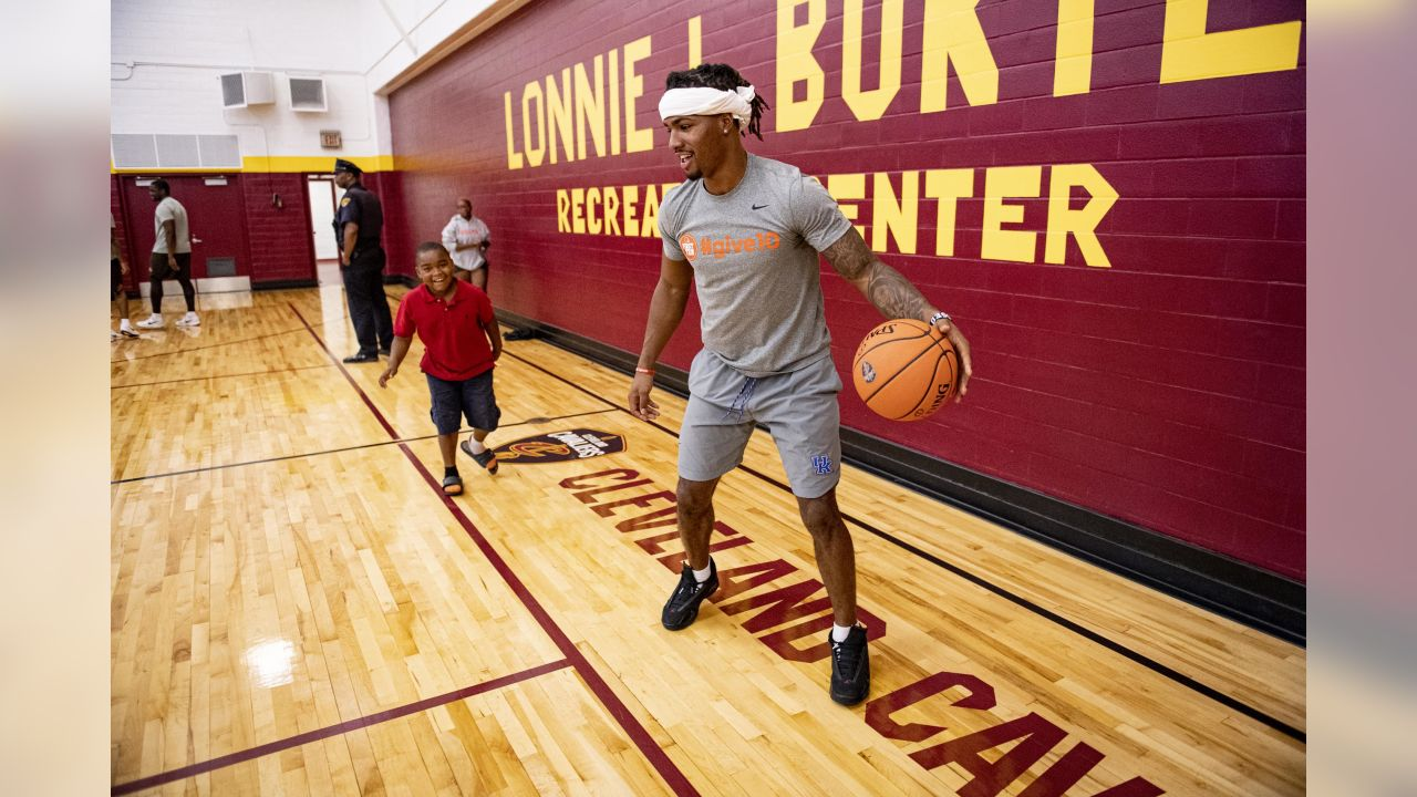 The rookie class visited with youth at Lonnie Burten Recreation Center Monday