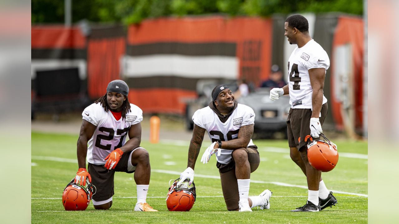 Running Back Kareem Hunt (27), Running Back Nick Chubb (24) and Running Back Duke Johnson Jr. (29) during the first day of minicamp on June 4, 2019.
