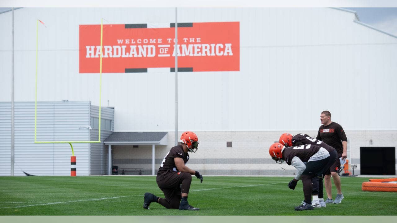 Browns players work in a drill during minicamp practice Tuesday in Berea.