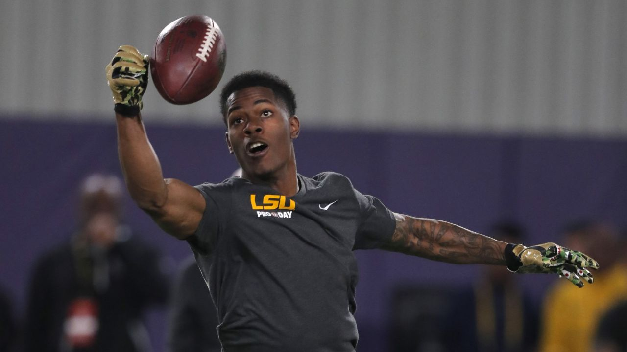 """LSU cornerback Andraez """"Greedy"""" Williams works out during NFL Pro Day at their NCAA football training facility in Baton Rouge, La., Friday, March 22, 2019. (AP Photo/Gerald Herbert)"""