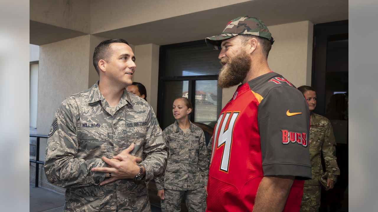 TAMPA, FL - OCTOBER 30, 2018 - Quarterback Ryan Fitzpatrick #14 during the visit to MacDill Air Force Base in Tampa, FL. Photo By Kyle Zedaker/Tampa Bay Buccaneers