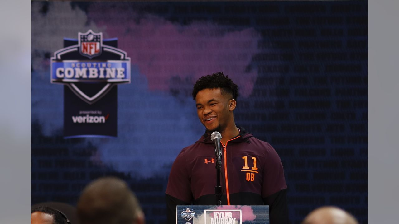 University of Oklahoma Sooners quarterback Kyler Murray speaks during a press conference at the NFL football scouting combine on Friday, March 1, 2019 in Indianapolis. (Aaron M. Sprecher via AP)
