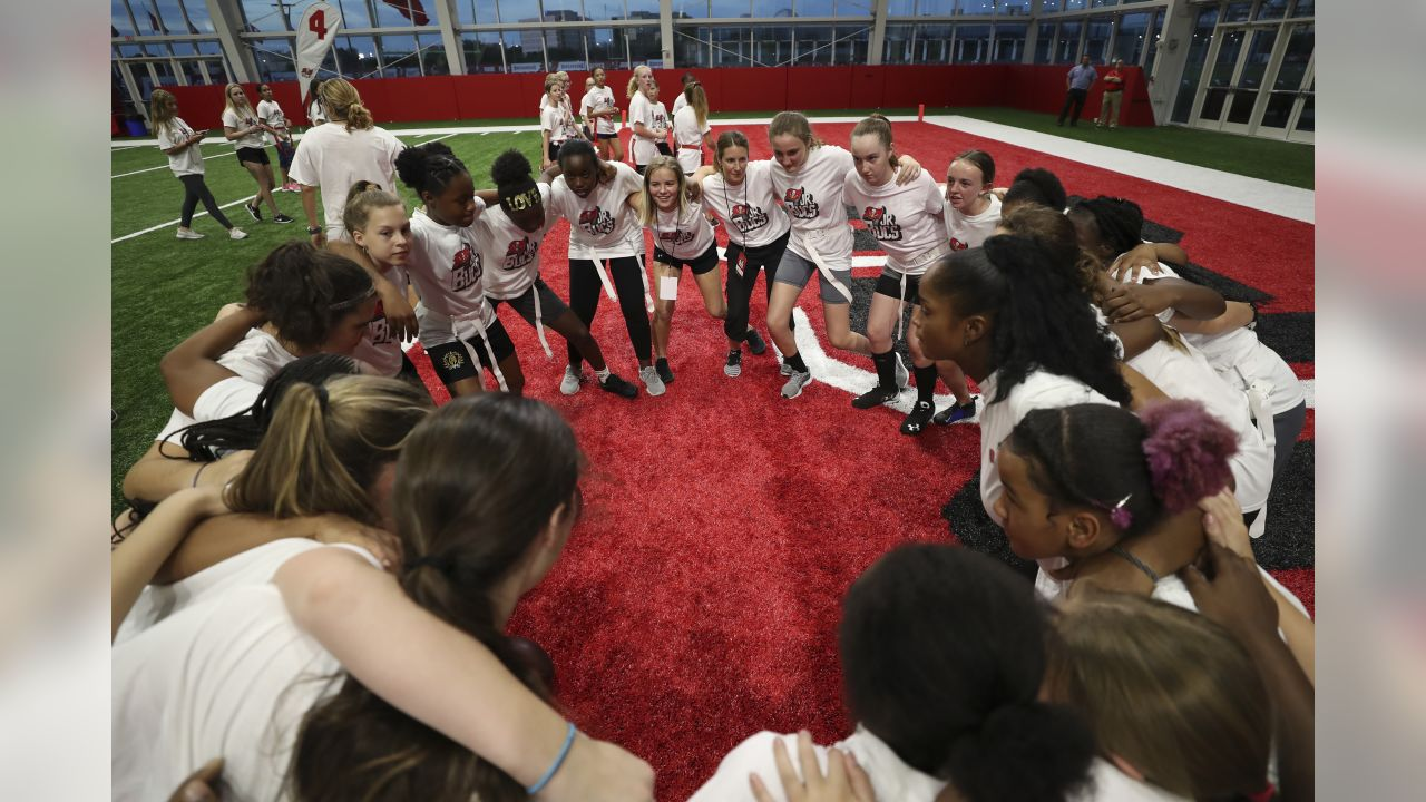 TAMPA, FL - FEBRUARY 28, 2019 -   The Tampa Bay Buccaneers Foundation Girls Flag Football clinic at AdventHealth Training Center in Tampa, FL. Photo By Kyle Zedaker/Tampa Bay Buccaneers