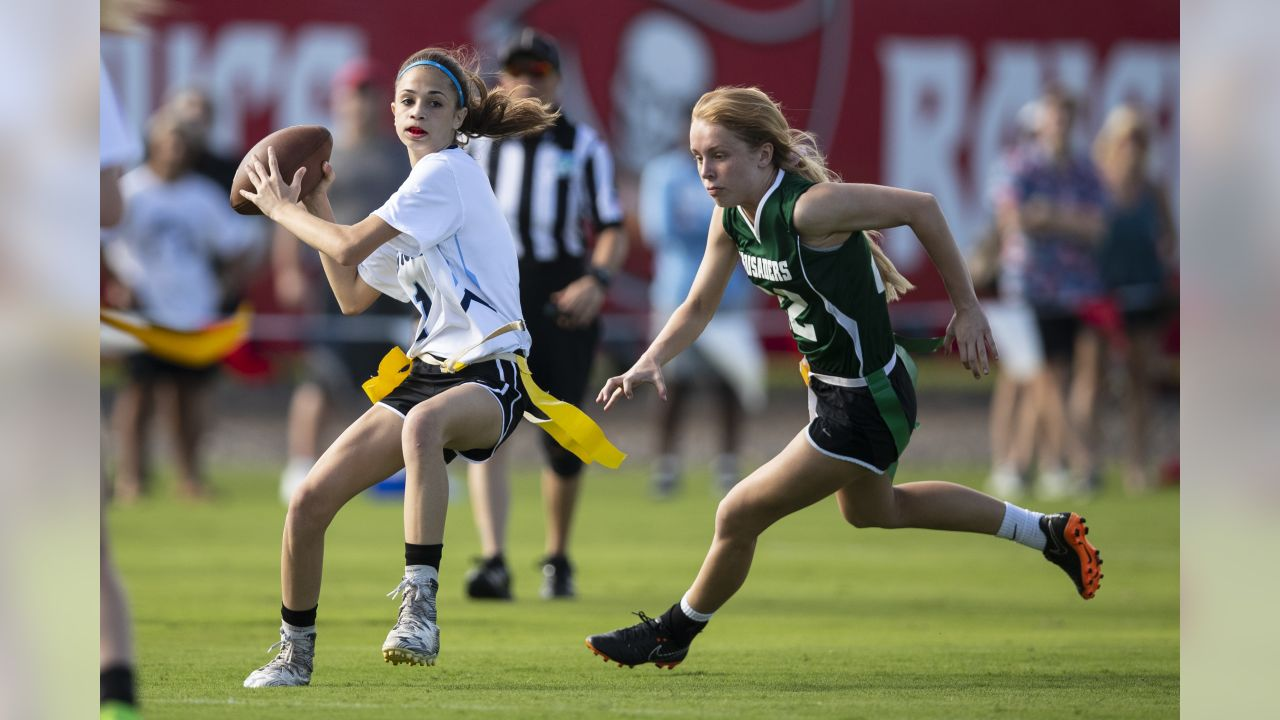 TAMPA, FL - MARCH 01, 2019 - The Tampa Bay Buccaneers Foundation Girls Flag Football Preseason Classic at AdventHealth Training Center in Tampa, FL. Photo By Kyle Zedaker/Tampa Bay Buccaneers