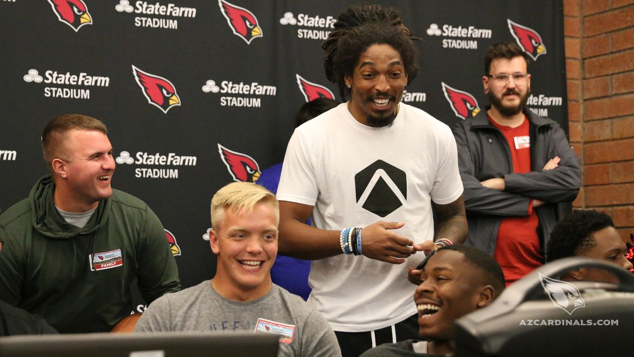 S Tre Boston has a laugh with players' Madden strategy.