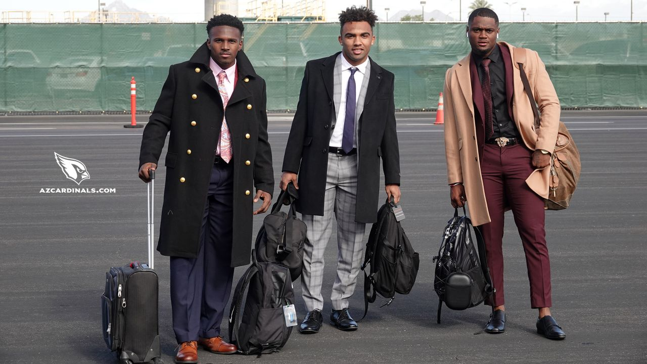 From left: RB Chase Edmonds, WR Christian Kirk and WR Trent Sherfield heading to Green Bay