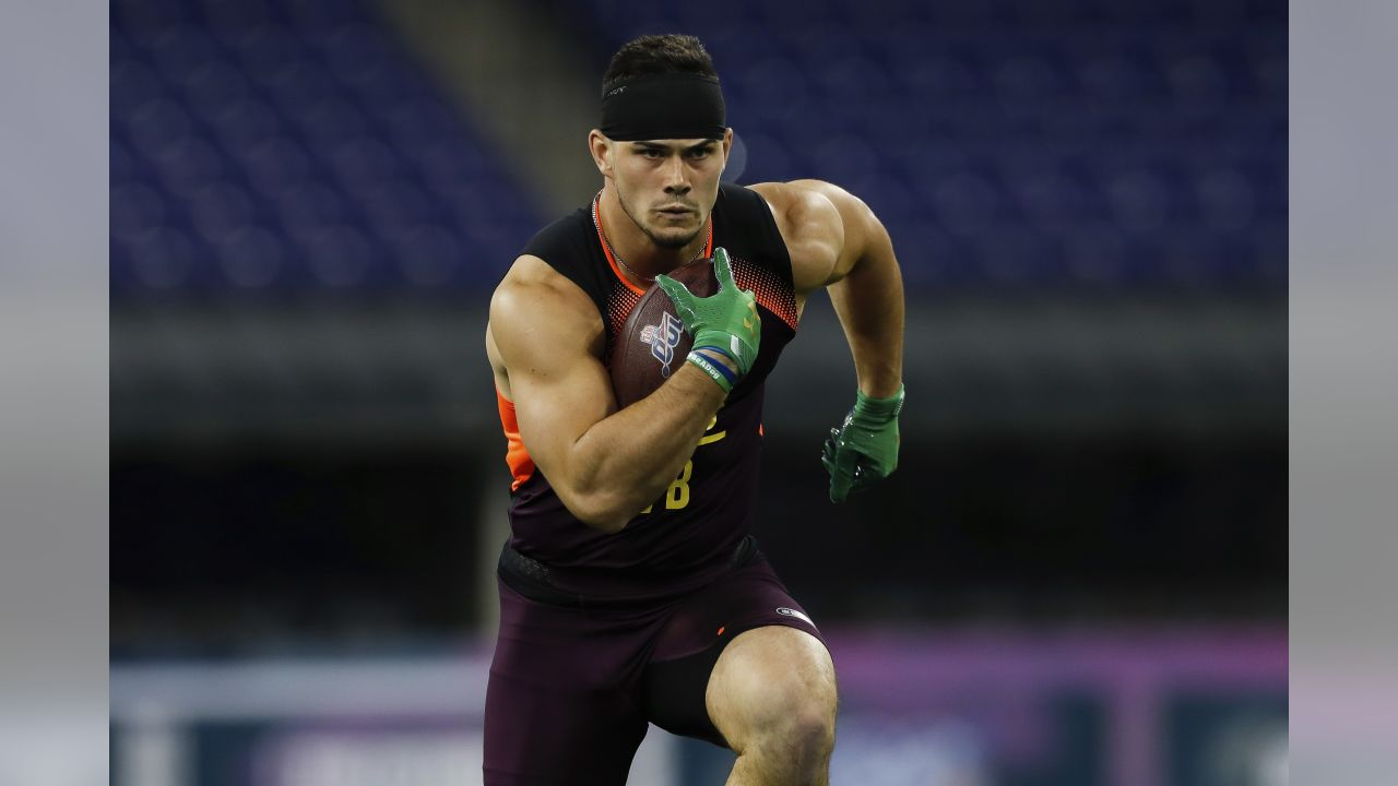 LB Drue Tranquill participates in a drill during the NFL football scouting combine on Sunday, March 3, 2019 in Indianapolis.