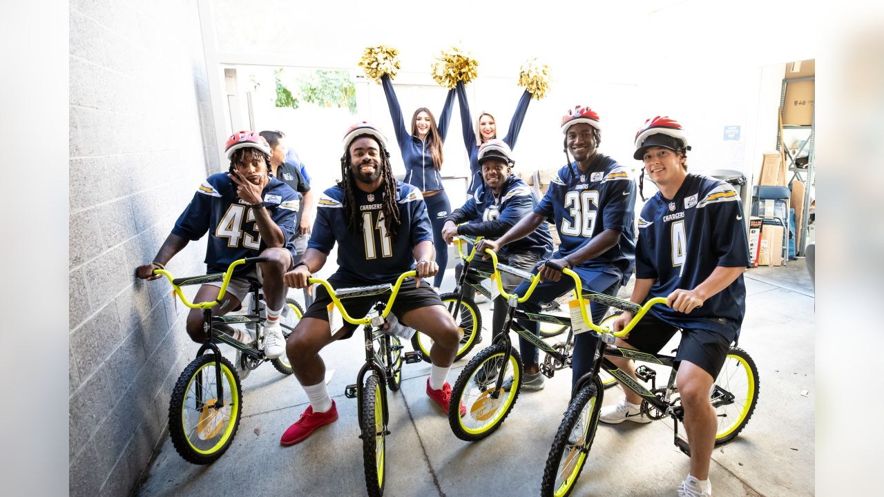 Los Angeles Chargers host Bikes For Kids at Cesar Chavez Elementary School on Tuesday, Dec. 4, 2018 in Long Beach, CA.