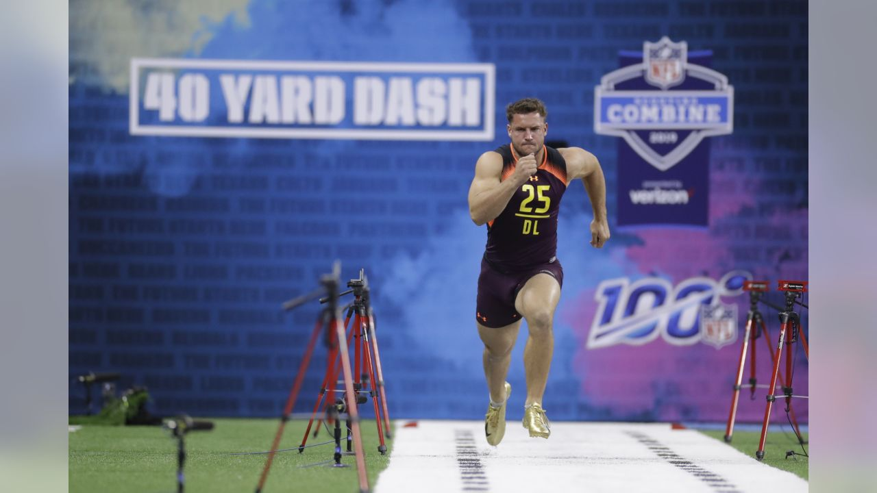 Ohio State DL Nick Bosa runs a 4.79 40-yard dash during the NFL football scouting combine on Sunday, March 3, 2019, in Indianapolis.